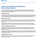Letter from the Board of Directors to Our Shareholders Download