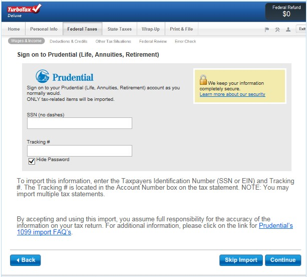Turbo Tax website with sign on to import tax information from Prudential.