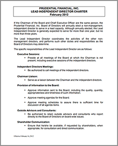 Lead independent Director charter image of front page