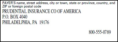 Example from a form showing the payers name